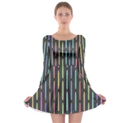 Pencil Stationery Rainbow Vertical Color Long Sleeve Skater Dress