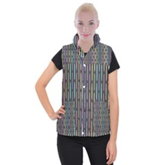 Pencil Stationery Rainbow Vertical Color Women s Button Up Puffer Vest
