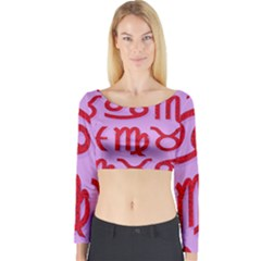 Illustrated Zodiac Red Purple Star Long Sleeve Crop Top
