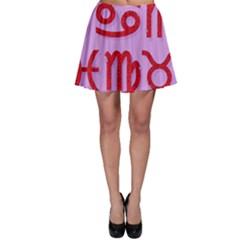 Illustrated Zodiac Red Purple Star Skater Skirt