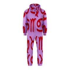 Illustrated Zodiac Red Purple Star Hooded Jumpsuit (Kids)