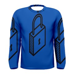 Padlock Love Blue Key Men s Long Sleeve Tee