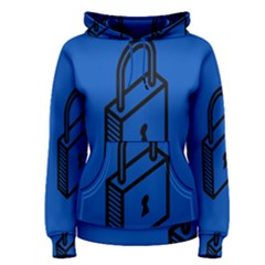 Padlock Love Blue Key Women s Pullover Hoodie