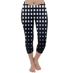 Plaid White Black Capri Winter Leggings