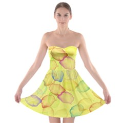 Watercolors on a yellow background                Strapless Bra Top Dress
