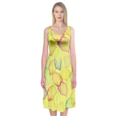 Watercolors on a yellow background          Midi Sleeveless Dress