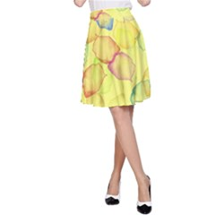 Watercolors on a yellow background                A-line Skater Skirt
