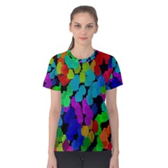 Colorful strokes on a black background               Women s Cotton Tee