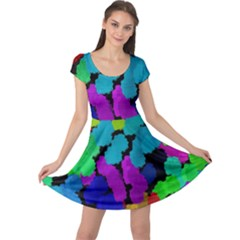 Colorful strokes on a black background              Cap Sleeve Dress