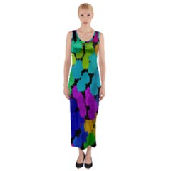 Colorful strokes on a black background               Fitted Maxi Dress