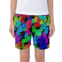 Colorful strokes on a black background         Women s Basketball Shorts