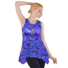 Paint strokes on a blue background              Side Drop Tank Tunic