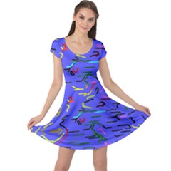 Paint Strokes On A Blue Background             Cap Sleeve Dress