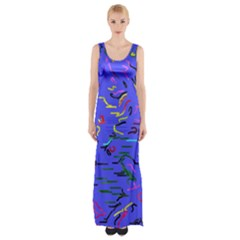 Paint strokes on a blue background              Maxi Thigh Split Dress