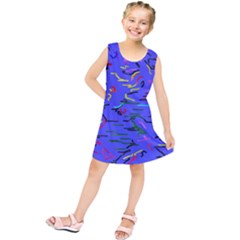 Paint strokes on a blue background             Kid s Tunic Dress
