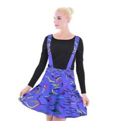 Paint Strokes On A Blue Background           Suspender Skater Skirt