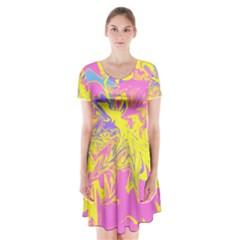 Colors Short Sleeve V-neck Flare Dress