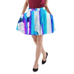 Blue watercolors               A-Line Pocket Skirt