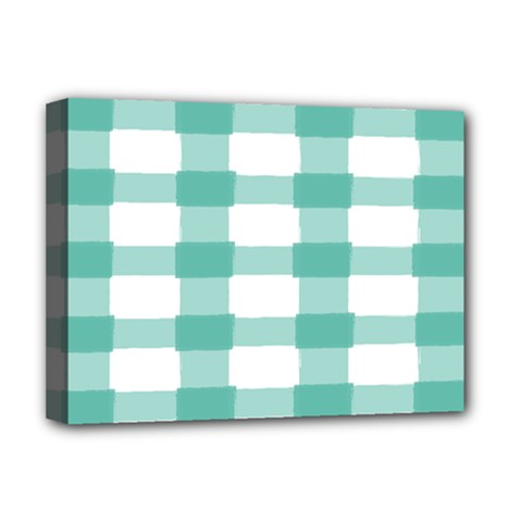 Plaid Blue Green White Line Deluxe Canvas 16  x 12