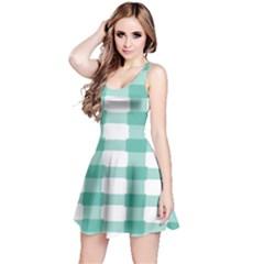 Plaid Blue Green White Line Reversible Sleeveless Dress