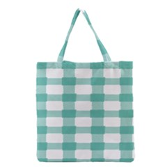 Plaid Blue Green White Line Grocery Tote Bag