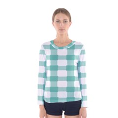 Plaid Blue Green White Line Women s Long Sleeve Tee