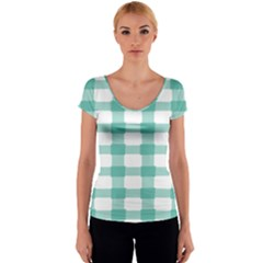 Plaid Blue Green White Line Women s V-Neck Cap Sleeve Top