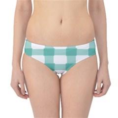 Plaid Blue Green White Line Hipster Bikini Bottoms