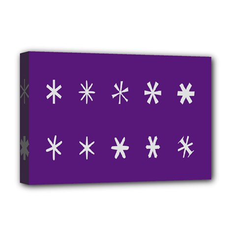 Purple Flower Floral Star White Deluxe Canvas 18  x 12