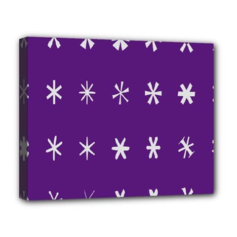 Purple Flower Floral Star White Deluxe Canvas 20  x 16