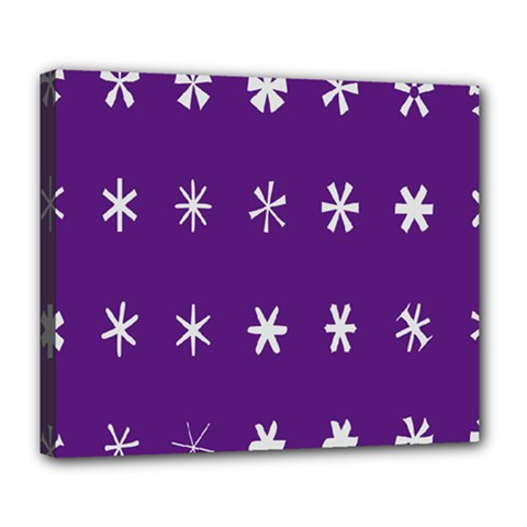 Purple Flower Floral Star White Deluxe Canvas 24  x 20