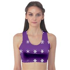 Purple Flower Floral Star White Sports Bra
