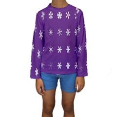 Purple Flower Floral Star White Kids  Long Sleeve Swimwear