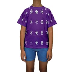 Purple Flower Floral Star White Kids  Short Sleeve Swimwear