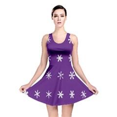 Purple Flower Floral Star White Reversible Skater Dress