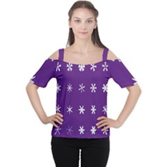 Purple Flower Floral Star White Women s Cutout Shoulder Tee