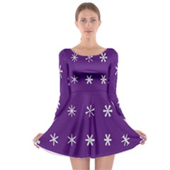 Purple Flower Floral Star White Long Sleeve Skater Dress