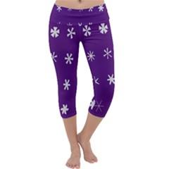 Purple Flower Floral Star White Capri Yoga Leggings