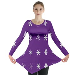 Purple Flower Floral Star White Long Sleeve Tunic