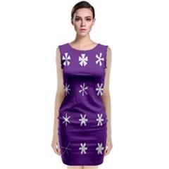 Purple Flower Floral Star White Classic Sleeveless Midi Dress
