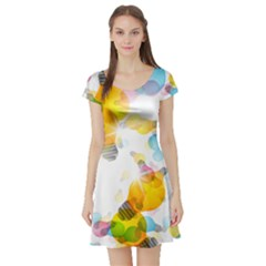 Lamp Color Rainbow Light Short Sleeve Skater Dress