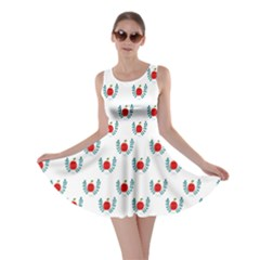Sage Apple Wrap Smile Face Fruit Skater Dress