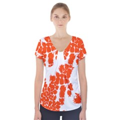 Red Spot Paint Short Sleeve Front Detail Top