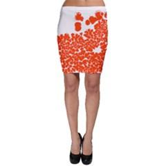 Red Spot Paint White Polka Bodycon Skirt