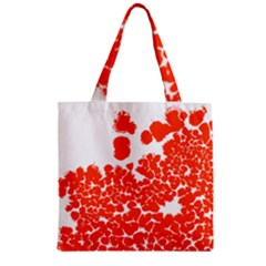 Red Spot Paint White Polka Zipper Grocery Tote Bag