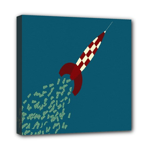 Rocket Ship Space Blue Sky Red White Fly Mini Canvas 8  x 8