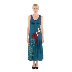 Rocket Ship Space Blue Sky Red White Fly Sleeveless Maxi Dress
