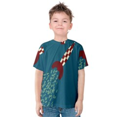 Rocket Ship Space Blue Sky Red White Fly Kids  Cotton Tee