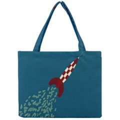 Rocket Ship Space Blue Sky Red White Fly Mini Tote Bag