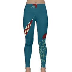 Rocket Ship Space Blue Sky Red White Fly Classic Yoga Leggings